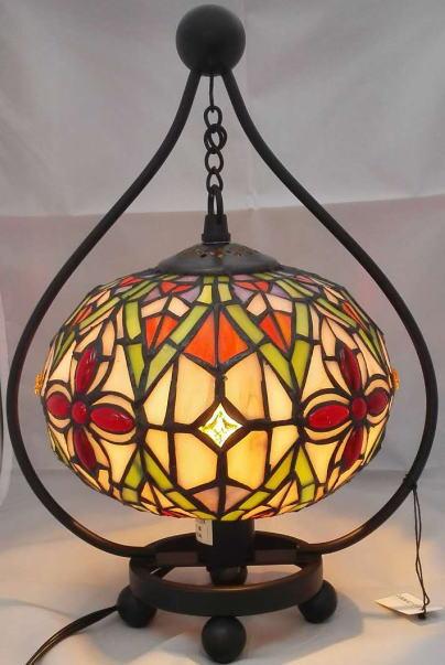 ステンドグラス ランプ 吊り型 ナギットの花柄 フレーム幅22cm フレーム高さ31cm (シェード直径18cm)