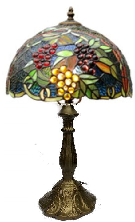 ステンドグラス ランプ ナギットの三色ぶどう柄 直径31cm 高さ47cm