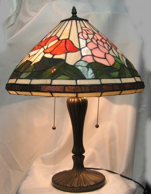 ティファニー風 ステンドグラス ランプ 2灯 大型  ピンクとオレンジ花柄 (シェード直径42.5cm 高さ55cm