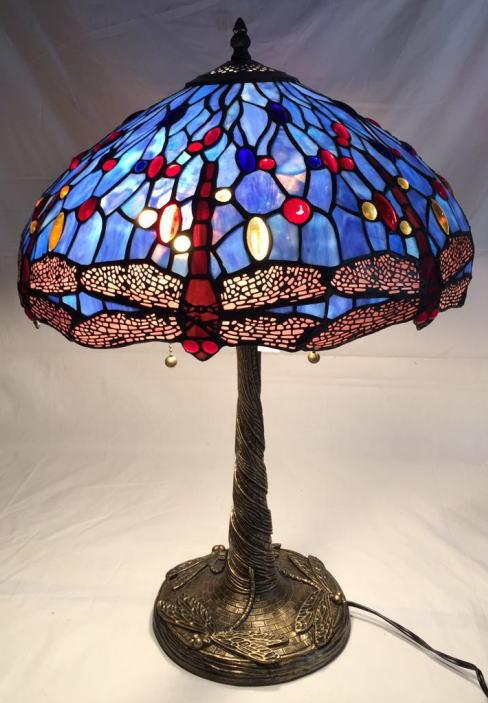 ティファニー風 ステンドグラス ランプ 大型 2灯 ブルー地にナギットと赤トンボ柄 幅40.5cm 高さ57.5cm ティファニー