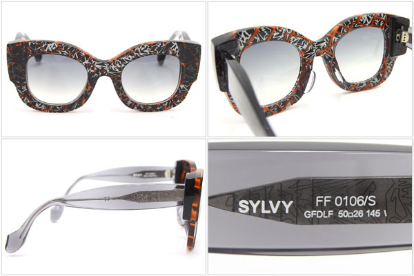 bf6dec7e7ea4 Fendi sunglasses FF0106 orange black gray used geometry Lady s eyewear  glasses FENDI