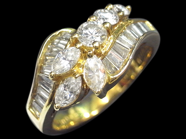 K18YG ダイヤモンド デザインリング ダイヤ合計1カラットup 9号 中古 イエローゴールド YG 指輪 ジュエリー アクセサリー 110220015   ゆびわ リング ダイヤ ダイヤリング ダイヤモンドリング 18金 レディース 女性 妻 誕生日 プレゼント ギフト 母の日 結婚記念日