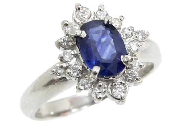 Pt900 サファイア&ダイヤモンド フラワーモチーフ デザインリング 7.5号 中古 指輪 プラチナ ジュエリー 120622001 | ゆびわ リング ダイヤ ダイヤリング ダイヤモンドリング 18金 レディース 女性 妻 誕生日 プレゼント ギフト 母の日 結婚記念日