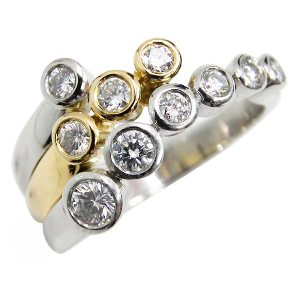 Pt YG ダイヤモンド コンビ デザインリング ダイヤ合計0.63ct 11号 中古 プラチナ イエローゴールド K18 YG 指輪 ジュエリー アクセサリー | ゆびわ リング ダイヤ ダイヤリング ダイヤモンドリング 18金 レディース 女性 妻 誕生日 プレゼント ギフト 母の日 結婚記念日