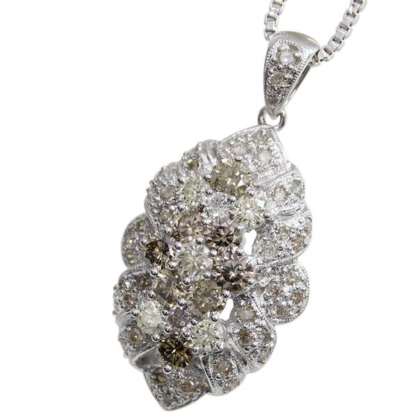 K18WG ダイヤモンド ブラウンダイヤ付き デザインネックレス 中古 ペンダント ホワイトゴールド ジュエリー アクセサリー | おしゃれ かわいい チャーム ダイヤ ダイヤモンド レディース 女性 妻 誕生日 プレゼント ギフト 母の日 結婚記念日
