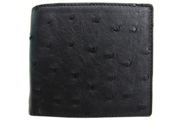 オーストリッチ 財布 二つ折り財布 ブラック 黒 新品 コンパクト ウォレット レザー 革 エキゾチックレザー 無双 OSTRICH| 女性 ブランド おしゃれ さいふ | ブランド財布 二つ折り メンズ 二つ折 折りたたみ 2つ折り財布 折り財布 2つ折り レザーウォレット おりたたみ 男性