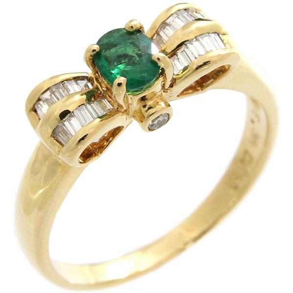 エメラルド ダイヤ デザインリング K18 YG E0.36ct D0.22ct 15.5号 指輪 中古 ジュエリー | ゆびわ リング ダイヤ ダイヤリング ダイヤモンドリング 18金 レディース 女性 妻 誕生日 プレゼント ギフト 母の日 結婚記念日