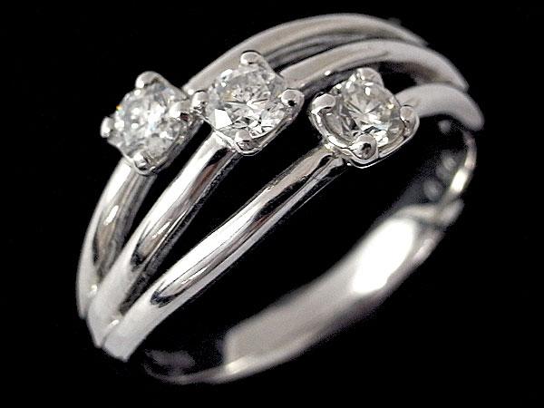K18WG スリーストーン ダイヤ デザインリング サイズ12号 中古 指輪 ホワイトゴールド 3Pダイヤ ダイヤモンド ジュエリー 60404004 | ゆびわ リング ダイヤ ダイヤリング ダイヤモンドリング 18金 レディース 女性 妻 誕生日 プレゼント ギフト 母の日 結婚記念日
