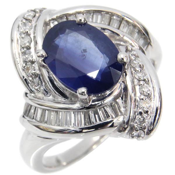Pt900 リング サファイア ダイヤモンド デザインリング S2.93ct 合計D0.63ct 15号 中古 プラチナ 指輪 ジュエリー アクセサリー | ゆびわ リング ダイヤ ダイヤリング ダイヤモンドリング 18金 レディース 女性 妻 誕生日 プレゼント ギフト 母の日 結婚記念日