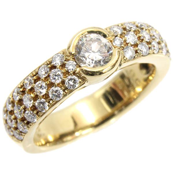 K18YG リング ダイヤモンド デザインリング D0.31ct 合計D0.48ct 7.5号 パヴェ 中古 750 イエローゴールド 指輪 ジュエリー アクセサリー | ゆびわ リング ダイヤ ダイヤリング ダイヤモンドリング 18金 レディース 女性 妻 誕生日 プレゼント ギフト 母の日 結婚記念日