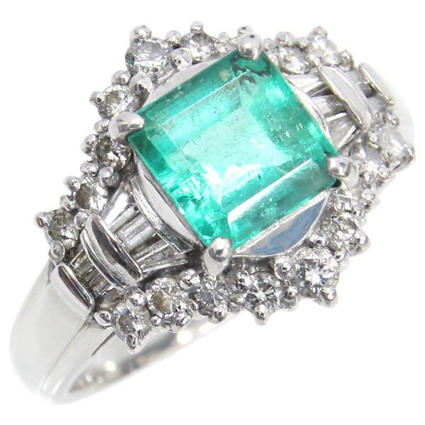 Pt900 リング エメラルド ダイヤモンド デザインリング E1.36ct D0.49ct 10号 中古 プラチナ 指輪 ジュエリー アクセサリー | ゆびわ リング ダイヤ ダイヤリング ダイヤモンドリング 18金 レディース 女性 妻 誕生日 プレゼント ギフト 母の日 結婚記念日