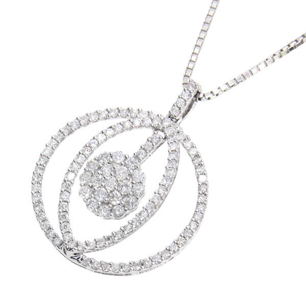 K18WG ネックレス ダイヤモンド ペンダント D1.00ct サークル 中古 パヴェ ダイヤネックレス 750 ホワイトゴールド ジュエリー アクセサリー | おしゃれ かわいい チャーム ダイヤ ダイヤモンド レディース 女性 妻 誕生日 プレゼント ギフト 母の日 結婚記念日