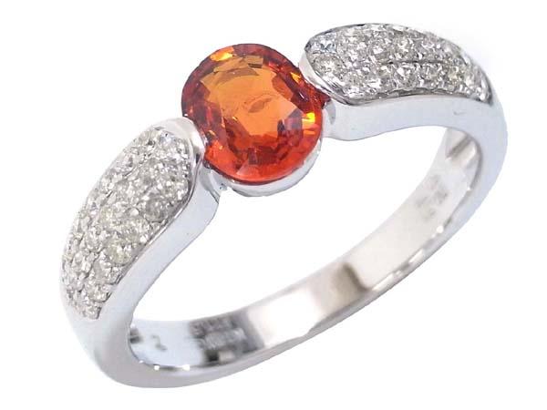 K18WG オレンジサファイア&ダイヤモンド デザインリング OS0.75ct D0.31ct 12号 中古 ホワイトゴールド WG 指輪 ジュエリー アクセサリー | ゆびわ リング ダイヤ ダイヤリング ダイヤモンドリング 18金 レディース 女性 妻 誕生日 プレゼント ギフト 母の日 結婚記念日