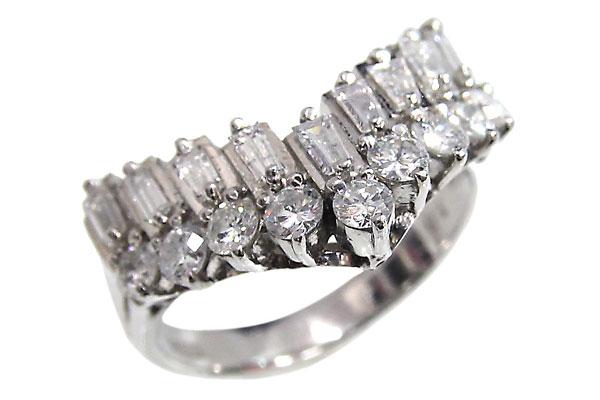 Pt900 ダイヤモンド V字 デザインリング ダイヤ合計1.02ct 10号 中古 プラチナ 指輪 ジュエリー アクセサリー 120116008 | ゆびわ リング ダイヤ ダイヤリング ダイヤモンドリング 18金 レディース 女性 妻 誕生日 プレゼント ギフト 母の日 結婚記念日