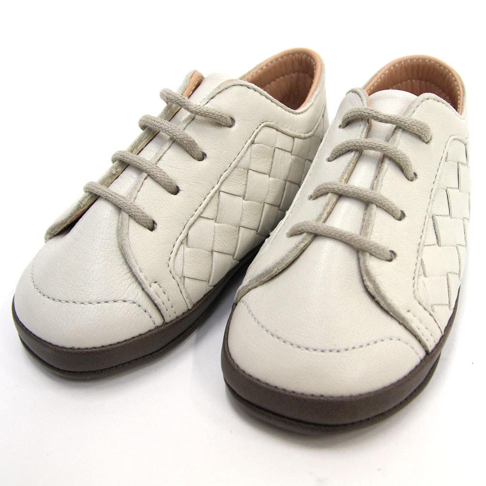 ボッテガヴェネタ ベビーシューズ イントレチャート 167308 アイボリー ダークブラウン ラムスキン 新品 未使用 赤ちゃん 靴 革 スニーカー 白 お祝い ギフト プレゼント BOTTEGA VENETA
