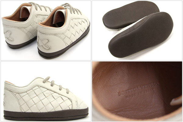 e1084debb4d34 ボッテガヴェネタベビーシューズイントレチャート 167308 ivory dark brown lambskin new article-free  baby shoes leather sneakers ...