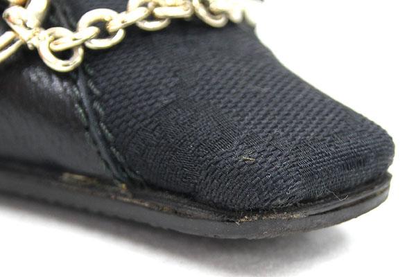 3f0d50a88 ... Gucci Lady's shoes GG hose bit mule black canvas leather size 35.5 22cm  used black logo ...