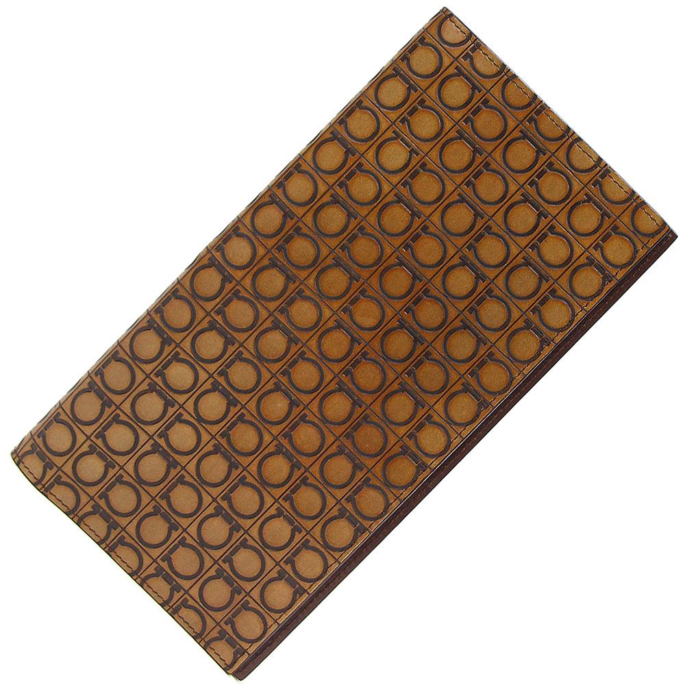 フェラガモ チケットケース ガンチーニ KY-66 6055 ブラウン カーフ 中古 革 茶系 トラベルケース ロゴ Ferragamo