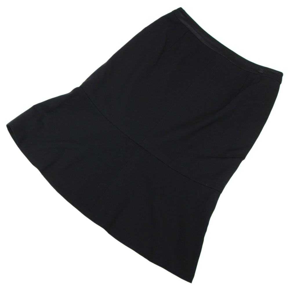 シャネル スカート ココマーク ブラック ウール シルク ポリウレタン サイズ36 04A 2004年 レディース 中古 黒 裾フレア Aライン 膝丈 CHANEL