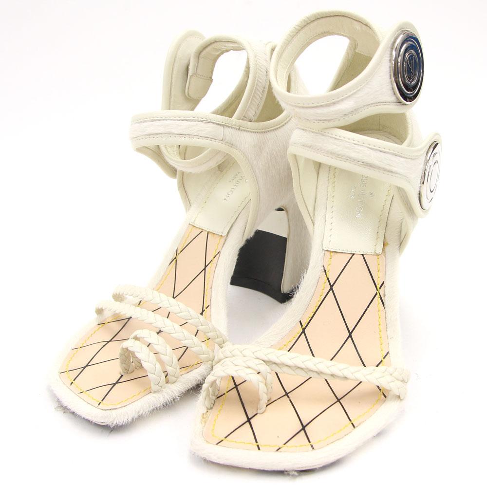 ルイヴィトン レディースシューズ オフホワイト ハラコ レザー サイズ34 21.5cm 中古 リングサンダル ロゴ入り 白 チャンキーヒール 靴 LOUIS VUITTON