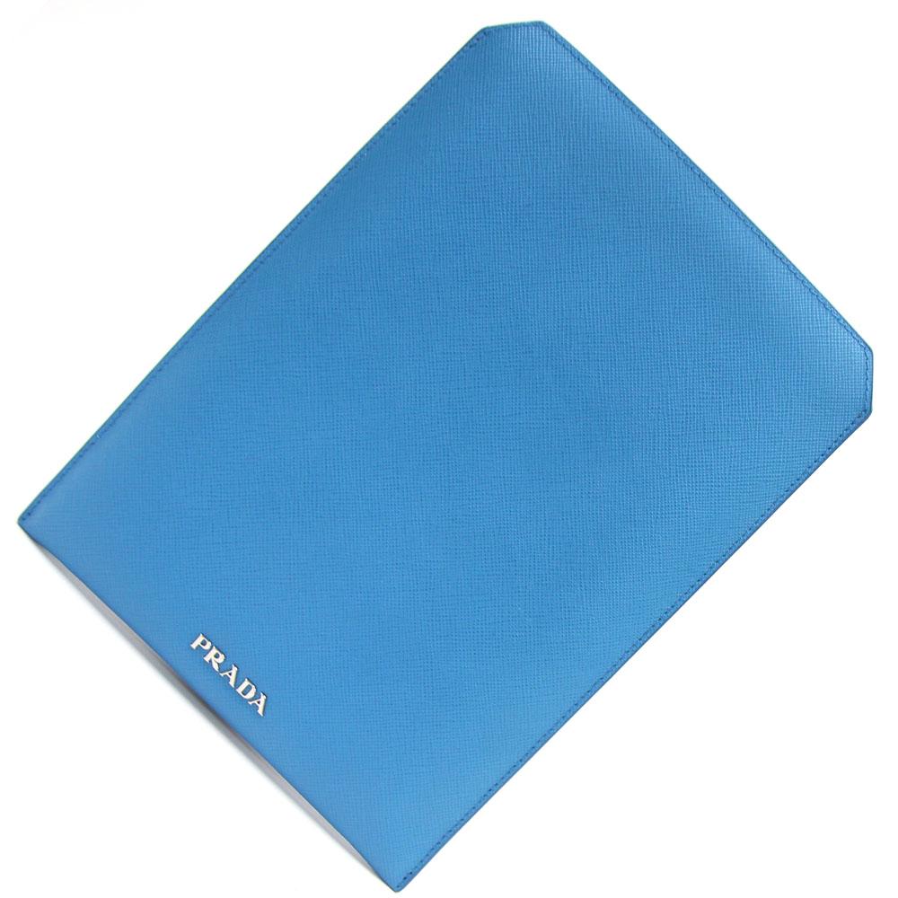 プラダ IPAD MINIケース 2ARI08 ライトブルー レザー 中古 水色 青 タブレットケース PRADA
