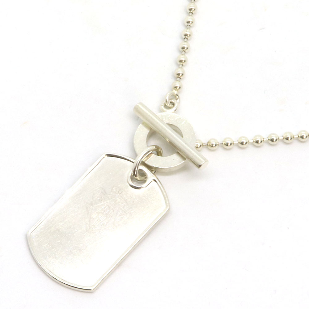 c0a0a6343 Gucci necklace crest plate pendant 190879 SV sterling silver used choker  accessories dog tag men GUCCI ...