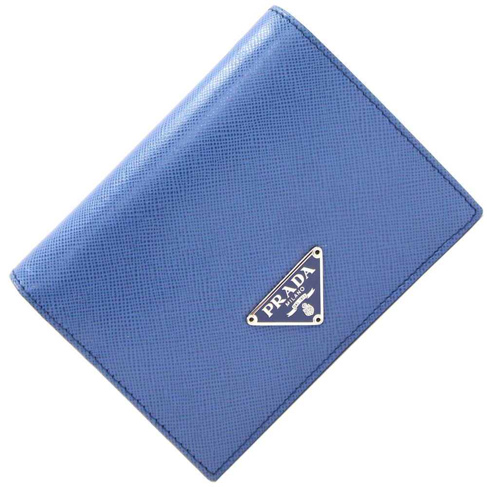 【中古】 プラダ 二つ折り財布 M204A コバルト サフィアーノ 青 ブルー コンパクトウォレット ミニ財布 PRADA | レディース ブランド財布 ブランド 財布 折り財布 折財布 二つ折財布 二つ折り お財布 2つ折り財布 女性 ウォレット 2つ折財布 ミニ 小さい 小型 コンパクト