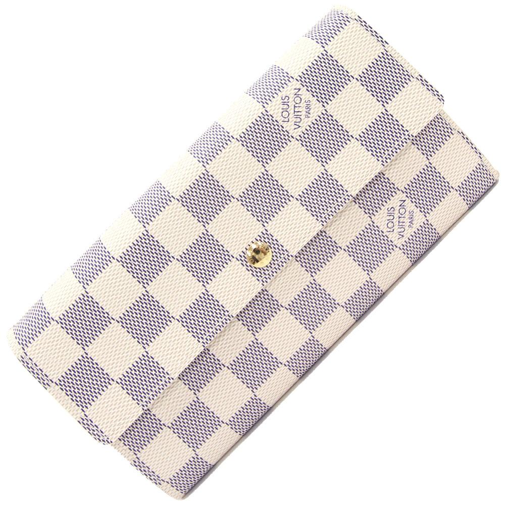 ルイ ヴィトン 二つ折り長財布 ダミエ アズール ポルトフォイユ サラ N61735 中古 ロングウォレット ユニセックス ホワイト LOUIS VUITTON