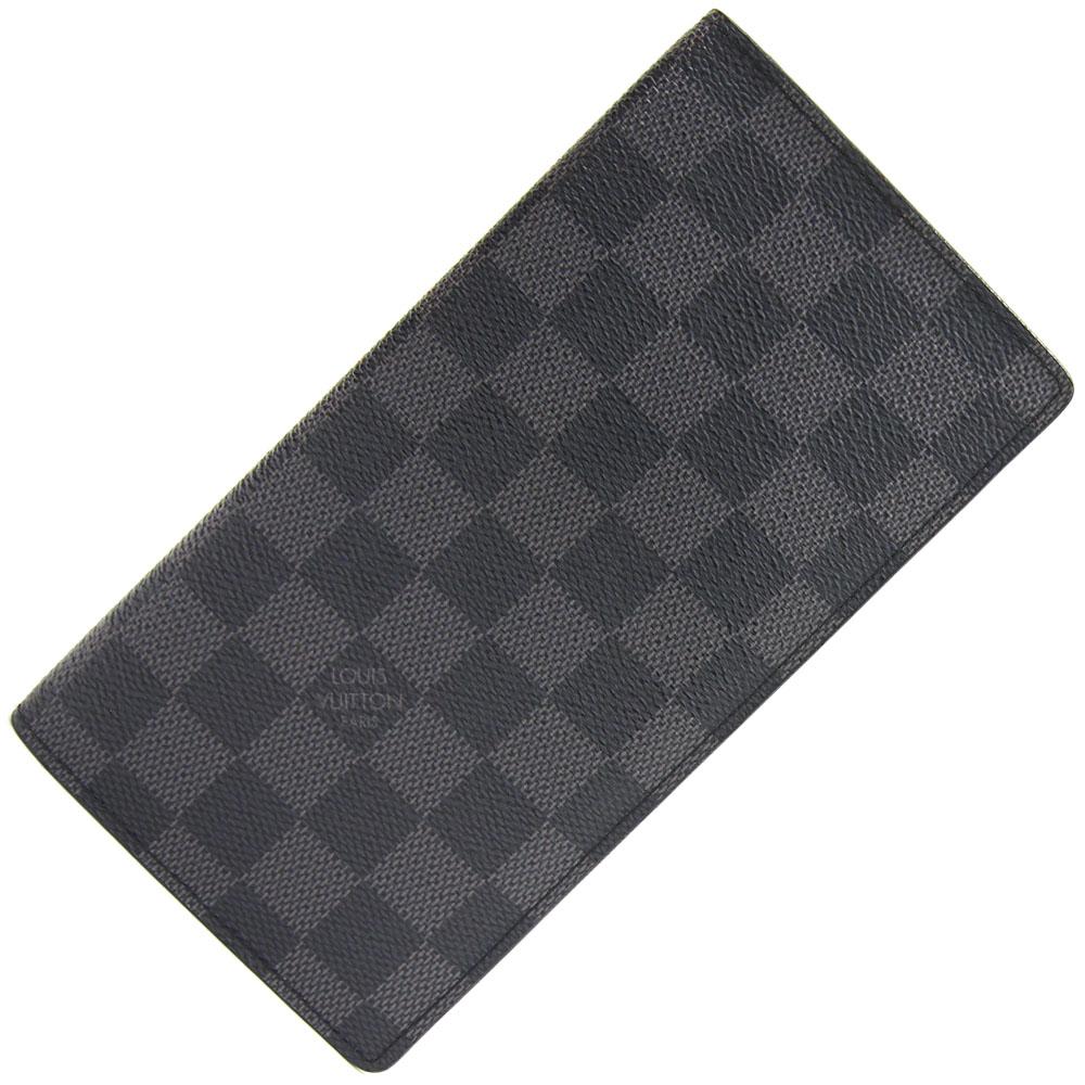 ルイヴィトン 二つ折り長財布 ダミエグラフィット ポルトフォイユ ブラザ N62665 中古 ロゴ入り ロングウォレット ブラック 黒 LOUIS VUITTON