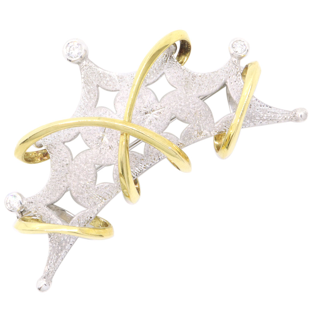 ダイヤモンド ブローチ 0.19ct K18YG Pt900 中古 イエローゴールド プラチナ アクセサリー コンビ Diamond