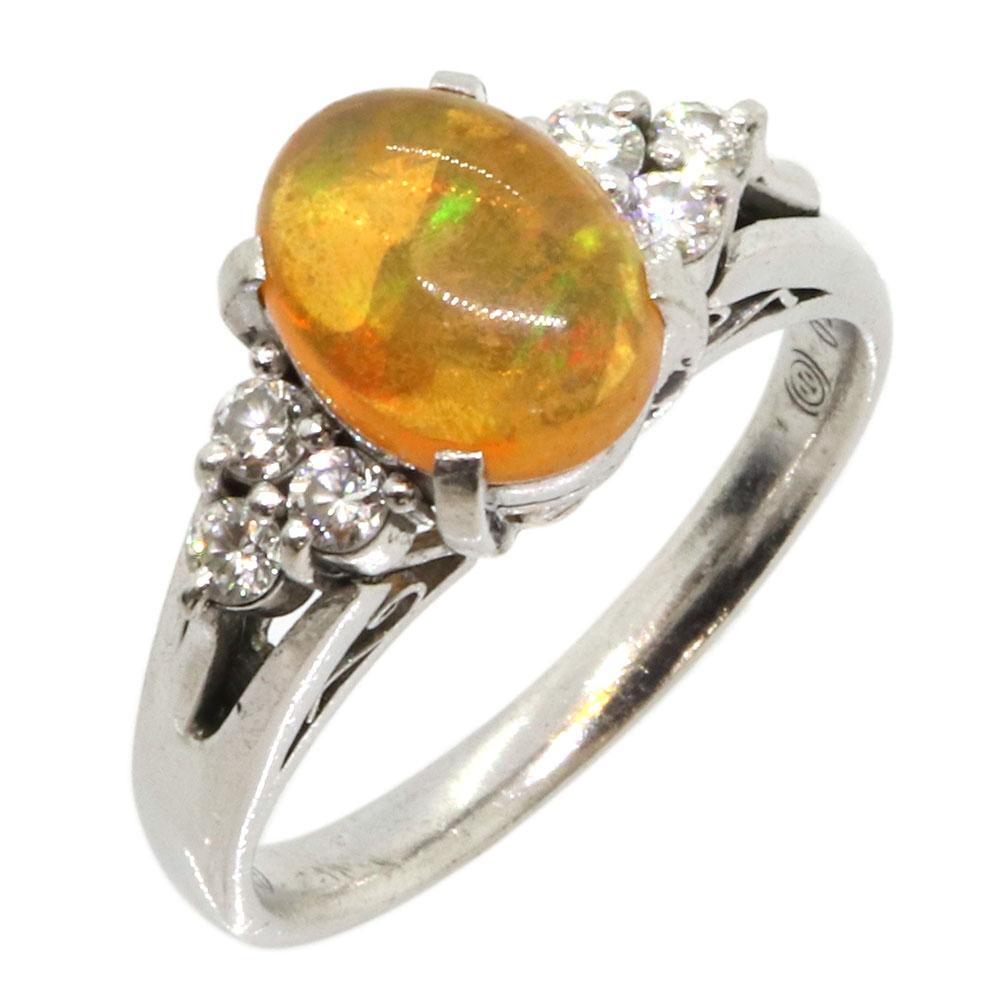 オパール ダイヤモンド リング 1.20ct 0.20ct PT900 11号 中古 指輪 プラチナ オレンジ Opal Diamond
