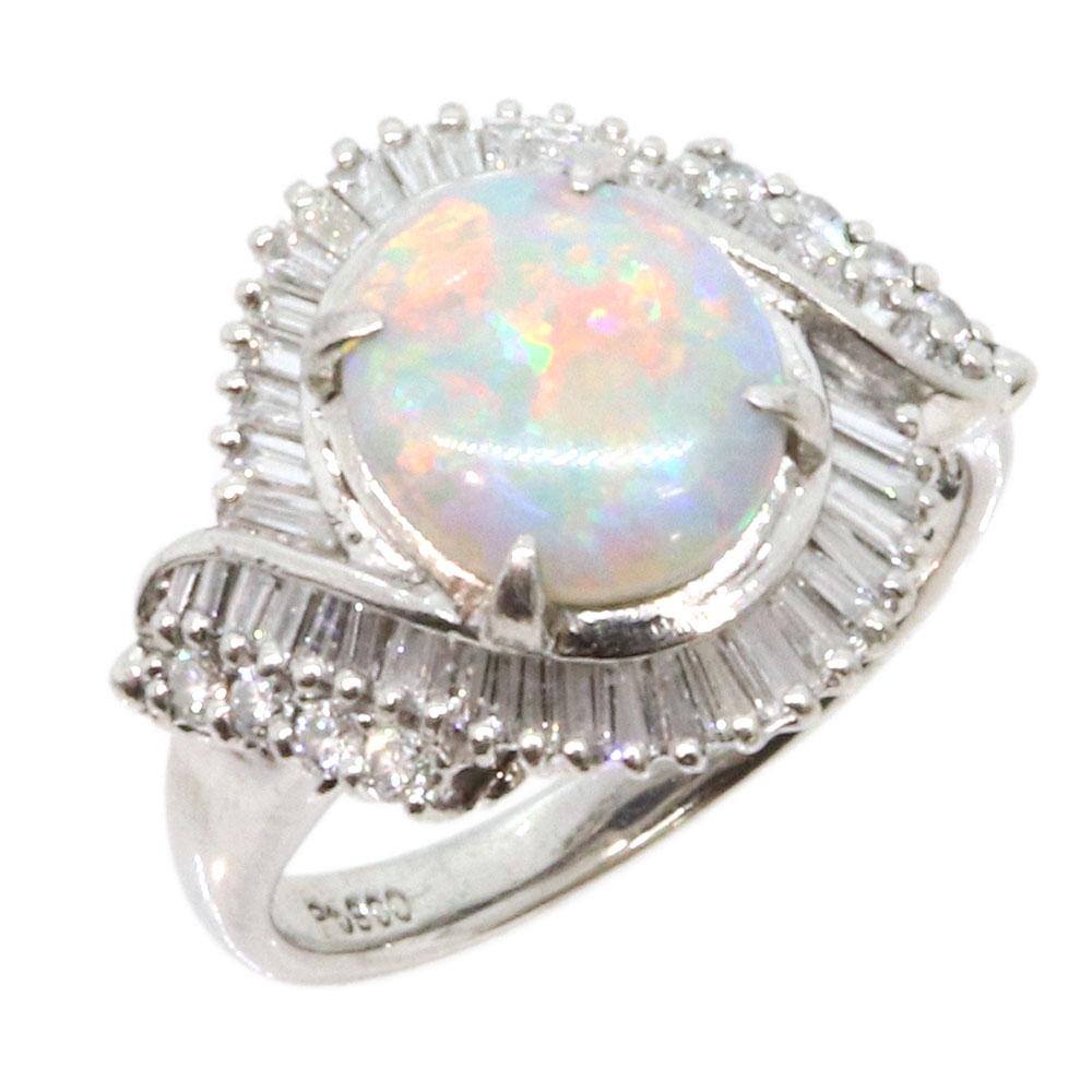 オパール ダイヤモンド リング 1.1ct 0.56ct Pt900 9号 中古 指輪 プラチナ Opal Diamond