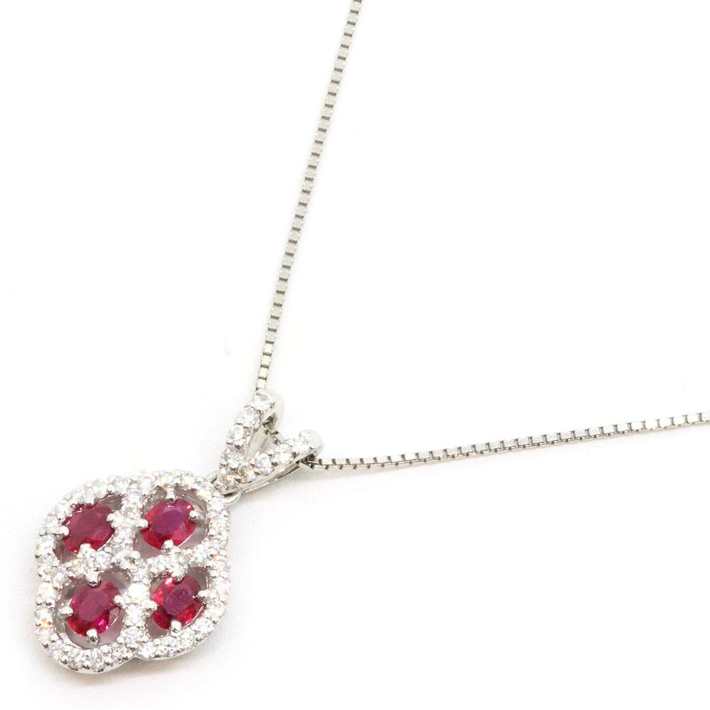 ダイヤモンド ルビー ネックレス 1.03ct 0.70ct Pt850 Pt900 中古 ペンダント チョーカー プラチナ Diamond Ruby