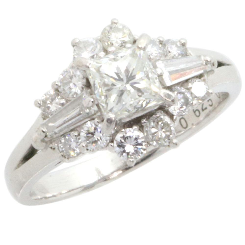 ダイヤモンド リング プリンセスカット ラウンドブリリアント テーパーバケット 0.625ct 0.8ct Pt900 11号 中古 指輪 プラチナ Diamond