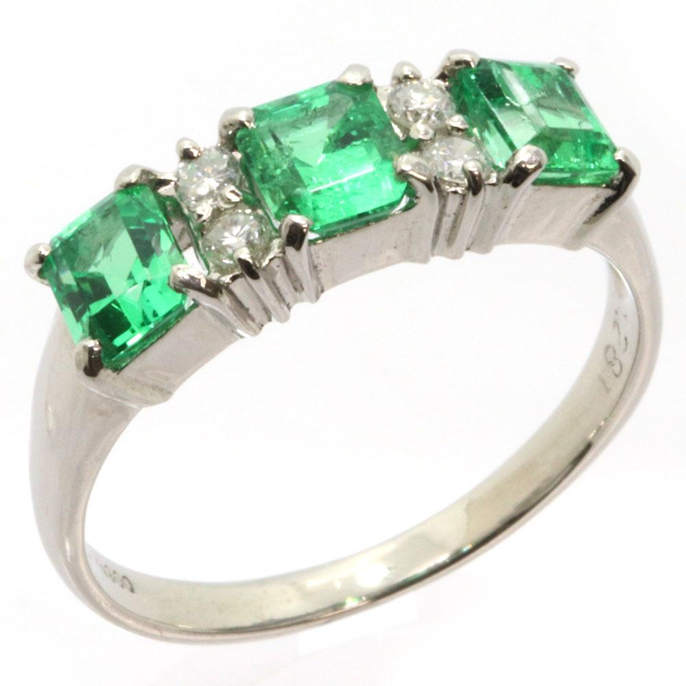 エメラルド ダイヤモンド リング 1.281ct 0.20ct Pt900 17号 中古 指輪 プラチナ グリーン パヴェ Emerald Diamond