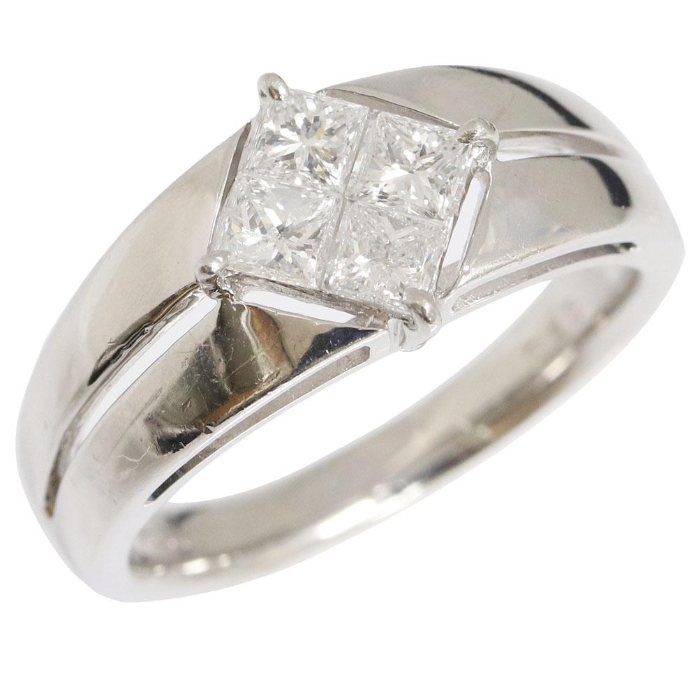 ダイヤモンド リング プリンセスカットダイヤ 0.50ct Pt900 10.5号 中古 アクセサリー レディース リサイクル リユース 宝石 ジュエリー 指輪 Diamond