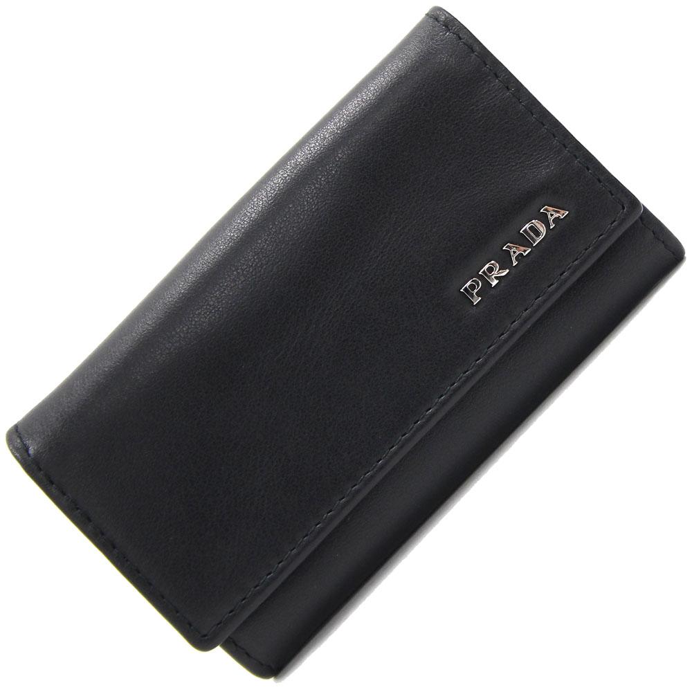現金特価 プラダ 6連キーケースをお得な価格で販売中 6連キーケース 2M0025 ブラック 最安値に挑戦 レザー カギ6本 メンズ 中古 PRADA キーホルダー レディース