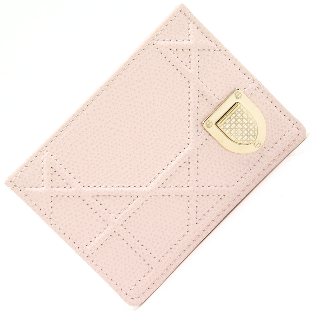 ディオール カードケースをセール価格で販売中♪ ディオール カードケース ディオールエヴァー ライトピンクレザー 中古 名刺入れ ビジネス レディース 女性 婦人 カナージュステッチ Christian Dior