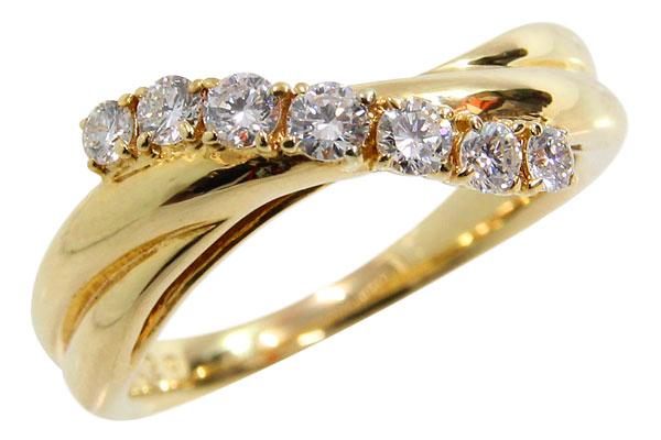 750 7ストーンダイヤモンドリング 7石ダイヤリング デザインリング ダイヤ 0.271ct 0.29ct 11号 中古 イエローゴールド 指輪 アクセサリー | ゆびわ リング ダイヤ ダイヤリング ダイヤモンドリング 18金 レディース 女性 妻 誕生日 プレゼント ギフト 母の日 結婚記念日