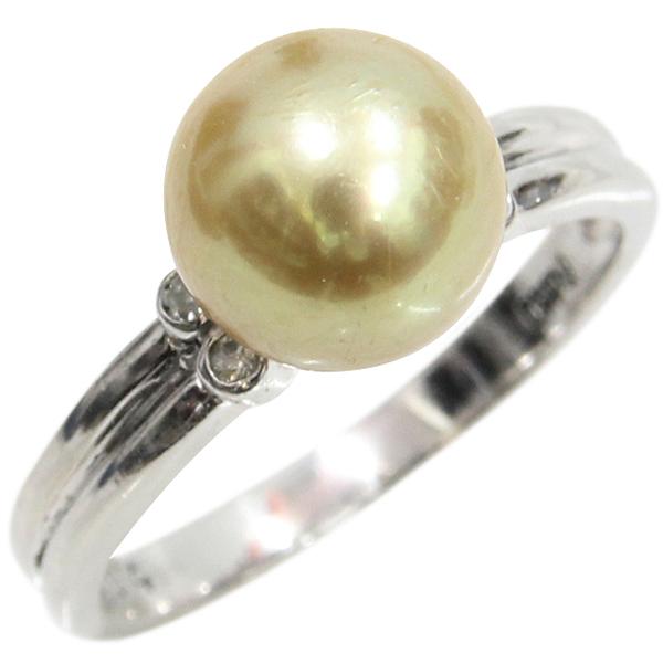 Pt900 パールリング 真珠 ダイヤモンド デザインリング ゴールド ゴールデンパール ダイヤ合計0.04ct 9.5号 中古 指輪 プラチナ | ゆびわ リング ダイヤ ダイヤリング ダイヤモンドリング 18金 レディース 女性 妻 誕生日 プレゼント ギフト 母の日 結婚記念日