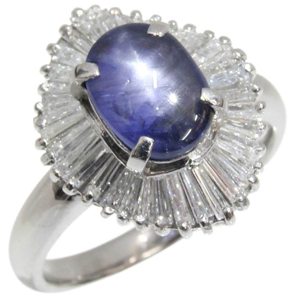 Pt900 リング スターサファイア ダイヤモンド デザインリング スターサファイア2.88ct ダイヤ合計D0.88ct 11号 鑑別書付 中古 プラチナ 指輪 | ゆびわ リング ダイヤ ダイヤリング ダイヤモンドリング 18金 レディース 女性 妻 誕生日 プレゼント ギフト 母の日 結婚記念日