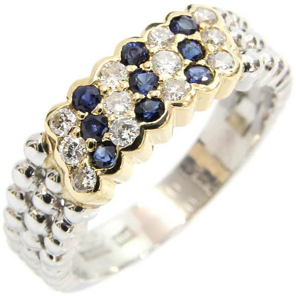 ダイヤ サファイア リング Pt YG プラチナ イエローゴールド 11号 中古 指輪 ジュエリー | ゆびわ リング ダイヤ ダイヤリング ダイヤモンドリング 18金 レディース 女性 妻 誕生日 プレゼント ギフト 母の日 結婚記念日