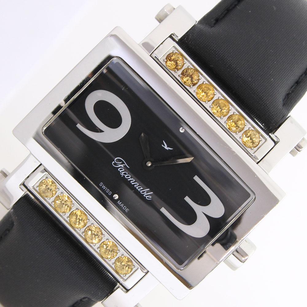 【中古】 ファソナブル レディースウォッチ ダイヤモンドロール ブラックダイアル ステンレススチール クォーツ カラーストーン LOVE Faconnable | ブランド レディース 時計 腕時計 女性 ウォッチ ブランド時計 レディース腕時計 中古時計 レディース時計 クオーツ