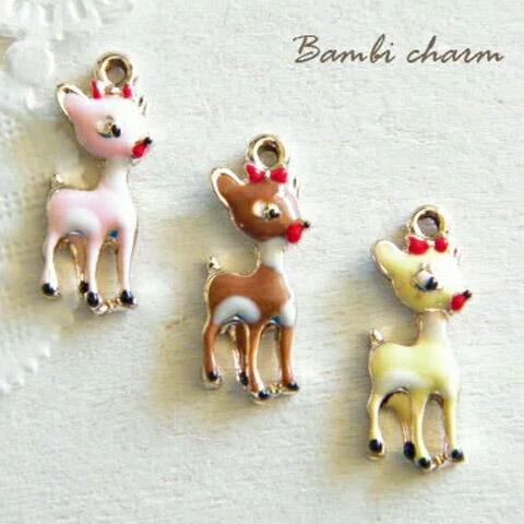 デコ ハンドメイドに 金属チャーム バンビ 定番スタイル 1個 生き物小鹿シカ鹿動物森J6-603 中古