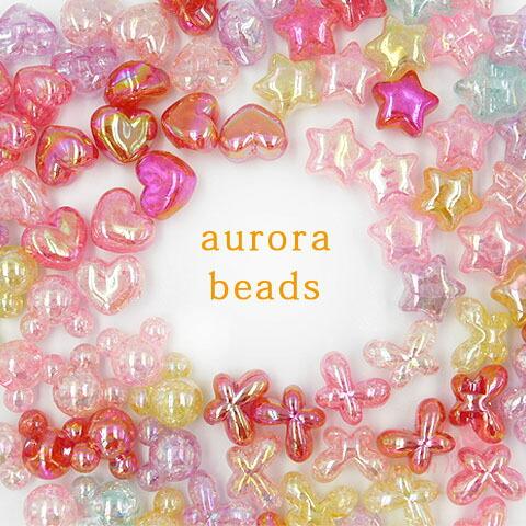 卸売り オーロラアクリルビーズ 全4種類 ミックスカラー 50g プラスチック 定番から日本未入荷 オーロラ 大好評です アクリル バタフライ マウス ハート ピアス キッズ アクセサリー ヘアアクセ beads595 材料 スター