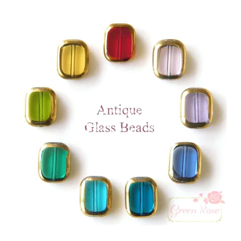 ハンドメイド ガラスビーズ アンティーク風ガラスビーズ レクタングル小 9色 10個 beads98 ビーズ メタリック ガラス gb 即日出荷 アクセサリーパーツ プレゼント
