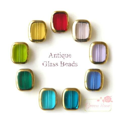ハンドメイド ガラスビーズ 35%OFF アンティーク風ガラスビーズ レクタングル大 9色 10個 期間限定 beads100 gb アクセサリーパーツ ガラス ビーズ メタリック