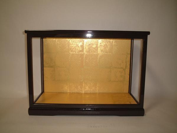 人形ケース コレクションケース 間口40×奥行20×高さ27cm アウトレット チープ ケース内寸 ガラス 黒桑塗り 高砂人形 木目込人形