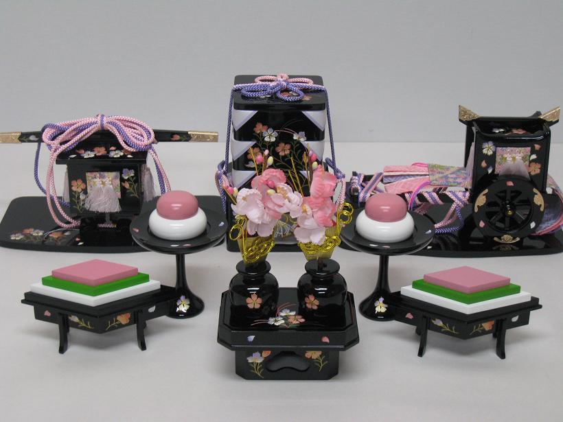 ◇新品◇雛人形3段用◇木製30号六品道具セット(なでしこ)◇ひな人形