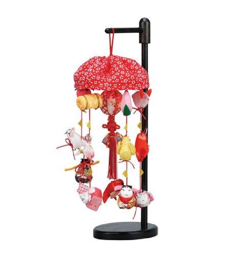 まり飾り ミニ 傘付 飾り台付3-9940 吊るし雛 つるし雛 ひな人形 雛人形 桃の節句